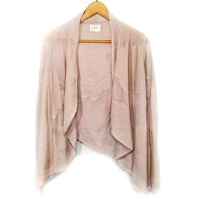 Anthro Deletta pink floral distressed cardigan S